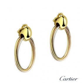 Cartier 18k Three Colour Gold Oval Hoop Trinity Earrings